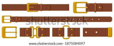 Leather strapping. Brown leather belts with steel buckles and metal fittings. Haberdashery strapping accessories vector illustration set. Strapping belt form leather, metallic accessory Stock photo ©