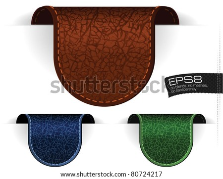 Leather tags. Vector.