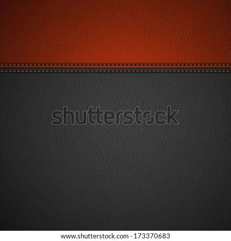 Leather Texture Background With Stitched Red Stripe - Eps10
