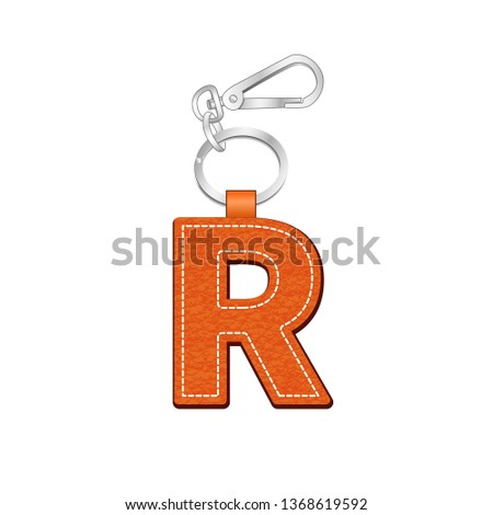 leather texture key chain with Letter R, leather tag key ring vector sketch template isolated on white background Stock fotó ©