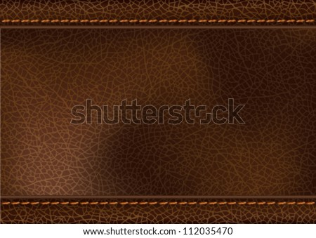 Leather texture with stitching. Vector illustration of realistic brown leather with stitching. Transparency effects used (multiply and soft light). EPS 10 file.