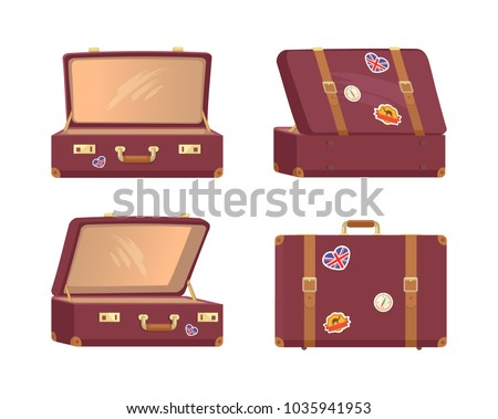 Leather vintage suitcases set open and closed briefcases, decorative nostalgia memories about Great Britain and Egypt, retro clock vector illustrations