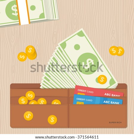 Leather wallet full of dollars notes coins and credit cards. Flat design vector illustration.