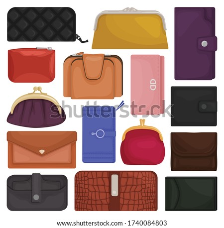 Leather wallet isolated cartoon set icon. Vector illustration purse on white background.Cartoon vector set icon leather wallet . Сток-фото ©