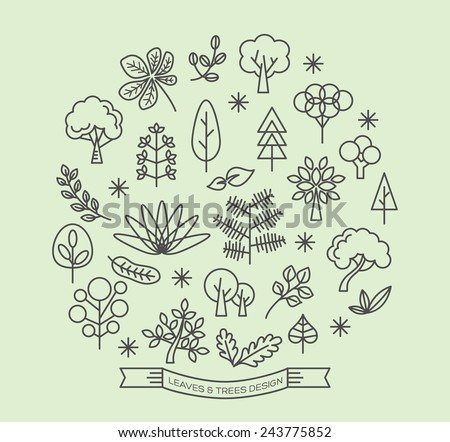 leaves and trees icons with