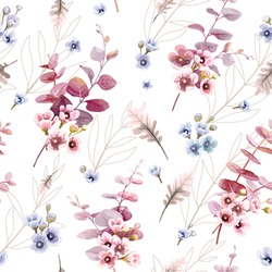Leaves and wax flower seamless pattern wallpaper, greenery on white background. watercolour style.
