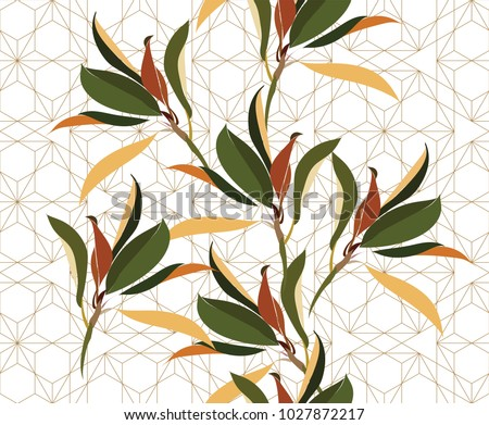 Leaves background vector. Nature seamless with Japanese pattern style.