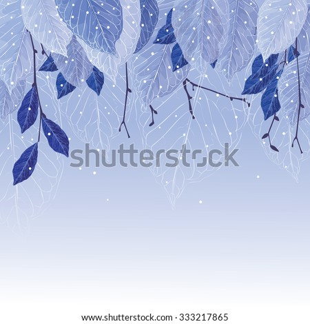 leaves covered with frost  blue