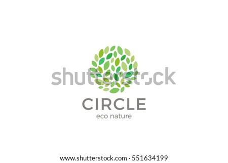 Leaves Eco Logo circle shape design vector template. Organic Natural Garden Park Logotype concept icon