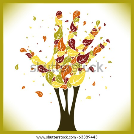 Leaves falling from a hand shaped tree vector.