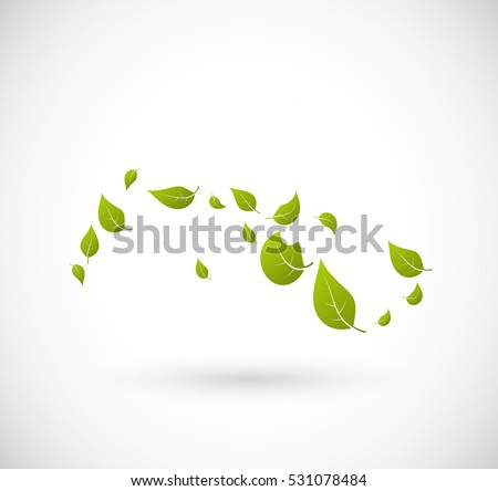 Leaves flying with the wind vector