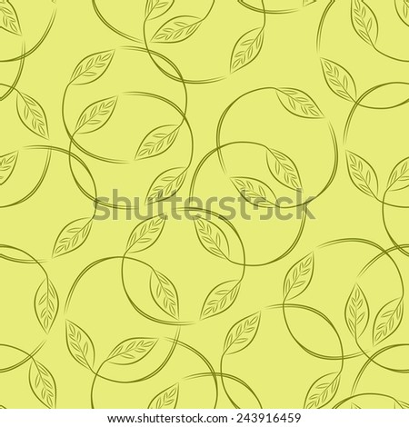Leaves. Foliage green background. Floral seamless pattern.