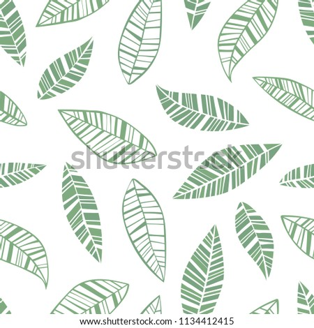 Leaves. Green. Seamless vector pattern.