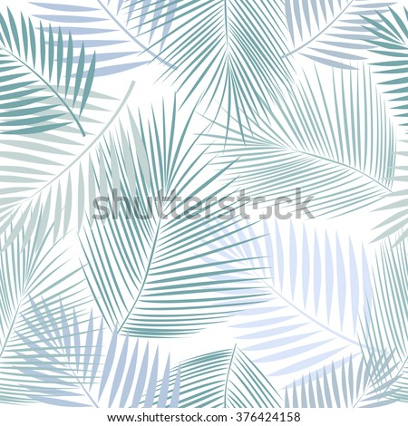 Leaves of palm tree. Seamless pattern. Vector background.