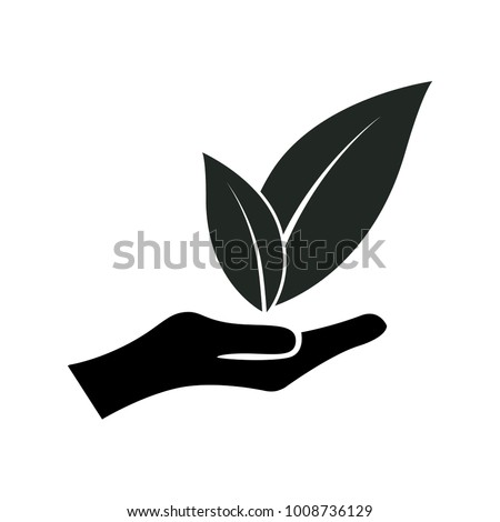 leaves on hand logo element. web design icon template