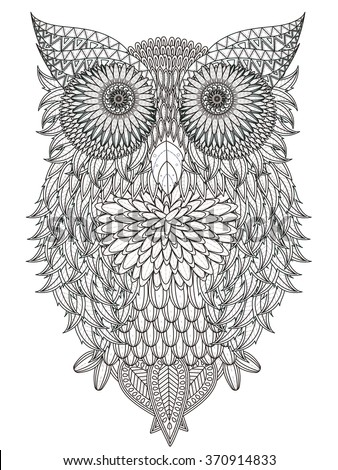 leaves owl coloring page in
