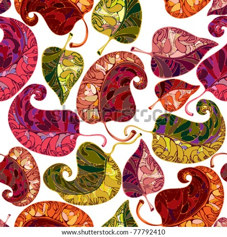 Leaves seamless pattern. Vector graphic stylized floral repeat background. Bright and multicolored, joyful and positive.