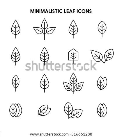 leaves thin line icon set