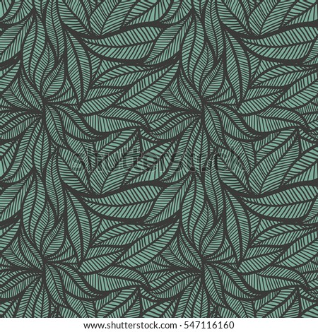 Leaves Vector Seamless Background, repeatable pattern