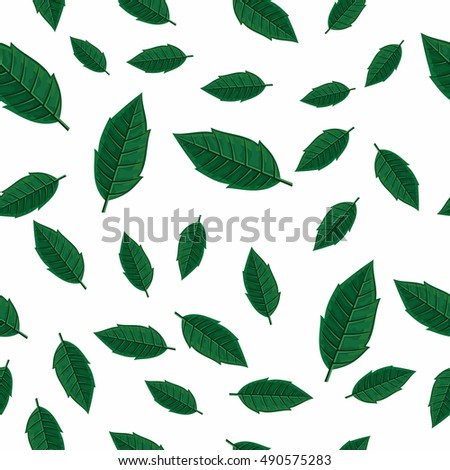 Leaves vector seamless pattern. Flat style illustration. Falling green tree leaves on white background. Autumn defoliation. For wrapping paper, greeting card, invitation, printing materials design