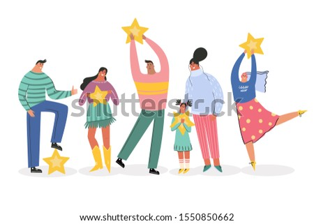 Leaving feedback, customer review rating concept. People holding stars in hands rate app, film, service. Know your client clients of different ages, tastes. Сustomer focus, happy customers flat design