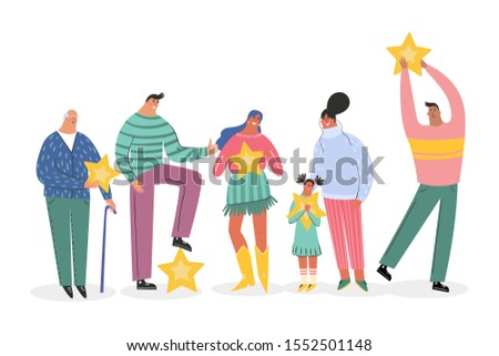 Leaving feedback, customer review rating concept. People holding stars in hands rate app, film, service. Know your client: clients of different ages, tastes. Сustomer focus, happy customers design