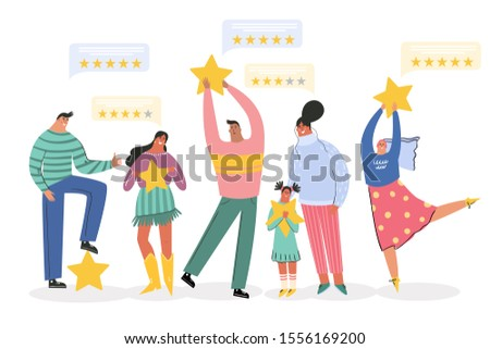 Leaving feedback, customer review rating concept. People holding stars in hands rate app, film, service. Know your client: clients of different ages, tastes. Сustomer focus, happy customers design.