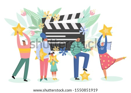 Leaving feedback, customer review rating concept. People holding stars in hands rate film, movie. Know your client: clients of different ages, tastes. Сustomer focus, happy customer flat design.