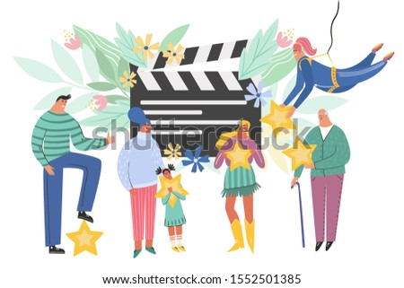 Leaving feedback, customer review rating concept. People holding stars in hands rate film, videp, or cinema. Know your client: clients of different ages, tastes. Сustomer focus, happy customers design