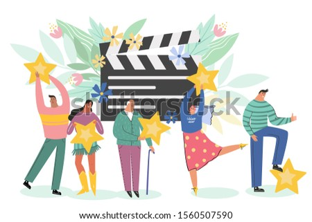 Leaving feedback, customer review rating concept. People holding stars in hands rate film, videp, or cinema. Know your client: clients of different ages, tastes. Сustomer focus, happy customers vector