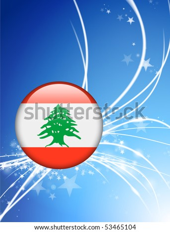 Lebanon Flag Button on Abstract Light Background Original Illustration