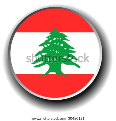 lebanon flag icon - vector button