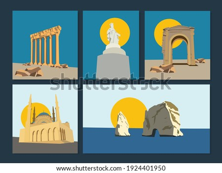 Lebanon Iconic Heritage Landmarks and Monuments illustration
