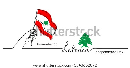Lebanon, Lebanese Independence Day vector background. One line drawing concept with hand, flag, cedar tree.