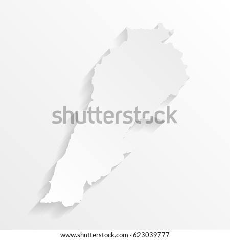 Lebanon Map with shadow. Cut paper isolated on a white background. Vector illustration.