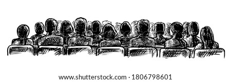 Lecture hall sketch. Vector people audience on seat watching performance, listening speech at lecture hall sketch view from back illustration. Vintage doodle hand drawn sketch isolated on white back Stock photo ©