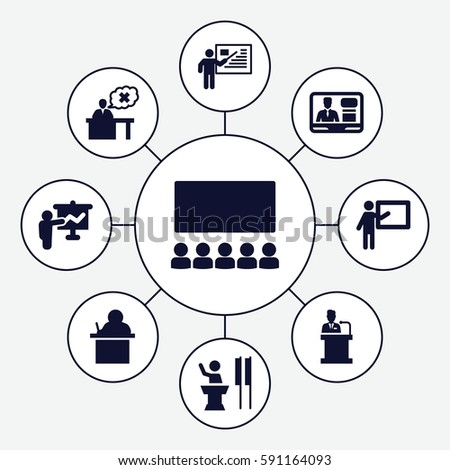 lecture icons set. Set of 9 lecture filled icons such as TV speaker, teacher, speaker