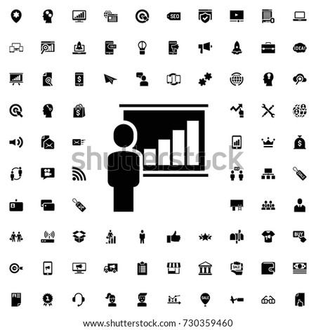 Lecturer icon . set of filled marketing icons.