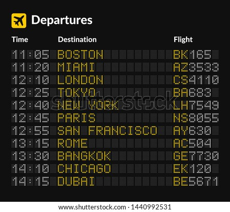 led airport board isolated