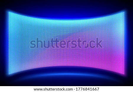 Led concave wall video screen with glowing blue and purple dot lights on black background. Vector illustration of grid pattern for led display on stadium or scene. Digital panel with mesh diode lamps Сток-фото ©