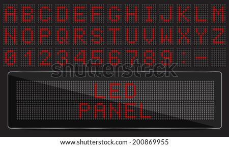led digital font on black