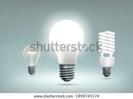 LED, incandescent and energy saving light bulbs. Vector illustration Сток-фото ©