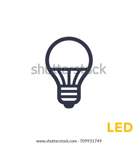 led light bulb icon on white