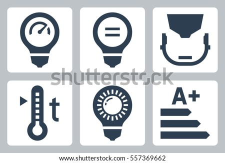 Led light bulb parameters icon set - power and its equivalent, type of cap, color temperature, luminosity and class