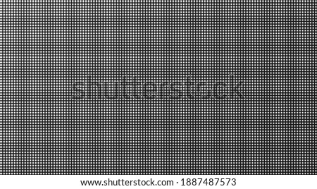 Led screen. Pixel texture. Lcd monitor with dots. TV background. Digital display. Electronic diode effect. Vector illustration. Black white television videowall. Projector grid template with bulbs Foto d'archivio ©