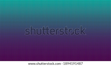 Led screen. Pixel texture. TV background. Lcd monitor with dot. Digital display. Electronic diode effect. Blue pink television videowall. Projector grid template with bulbs. Vector illustration Foto d'archivio ©