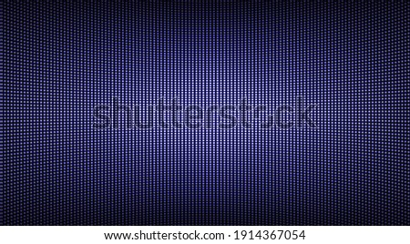 Led screen texture. Lcd monitor with dots. Pixel digital display. Electronic diode effect. Projector grid template. Horizontal television background. Purple videowall with bulbs. Vector illustration. Photo stock ©