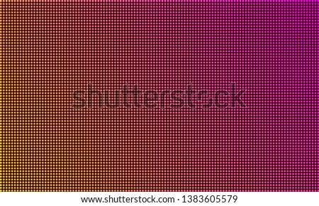 LED TV screen monitor, digital diode light texture background. Vector video wall led tv display, purple gradient color mesh pattern