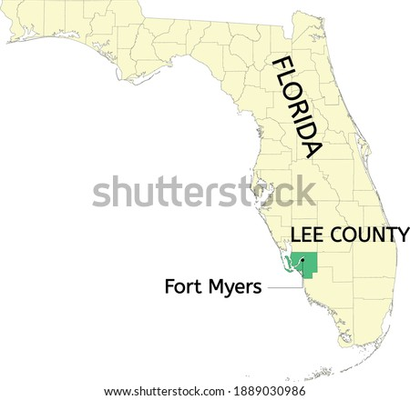 Lee county and city of Fort Myers location on Florida map