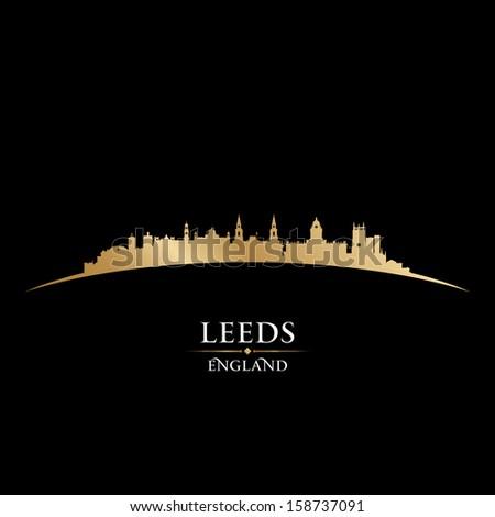 Leeds England city skyline silhouette. Vector illustration